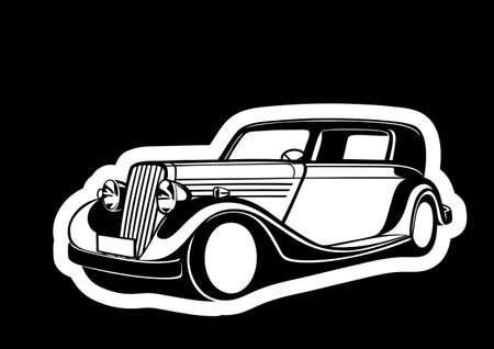 Black classic car over paper Vector