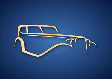 Golden antique logo over blue Vector