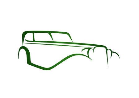 Green antique car Illustration