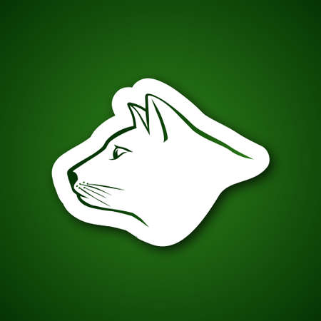 Cat head over green Vector