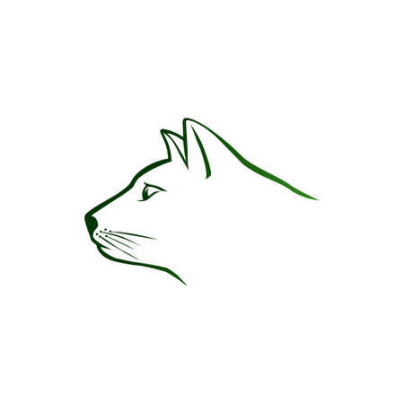 Green cat head Vector