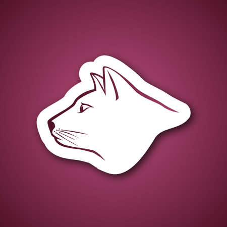 Cat head over pink Vector
