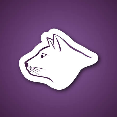 Purple cat head over purple background Vector