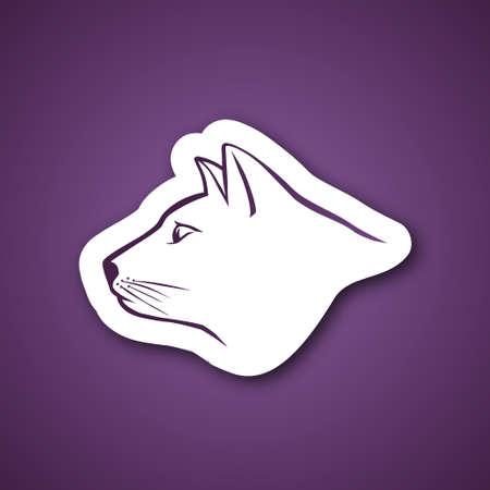 horse like: Purple cat head over purple background