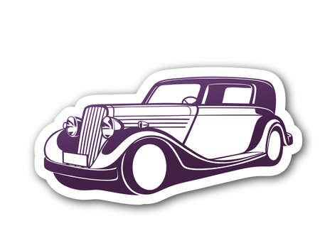 Purple classic car over paper Vector