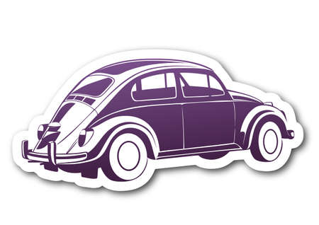 Purple sweet old car over paper Vector