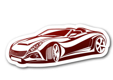 Beauty and aesthetic red car over paper  Vector