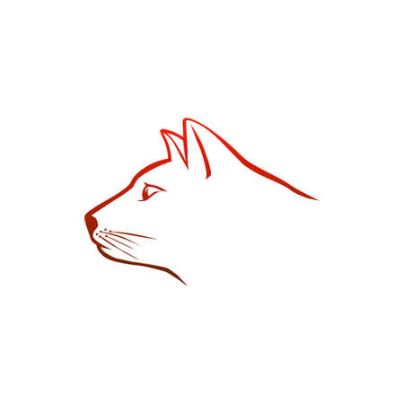 Red cat head Vector