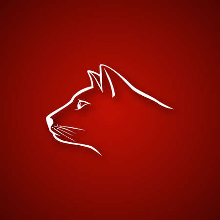 Cat head over red Illustration