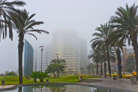 miraflores: Peru. Fog over the morning in Limas Miraflores Stock Photo