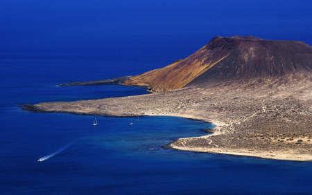 mirador: Lanzarote. View of the island of Graciosa from the Mirador del Rio