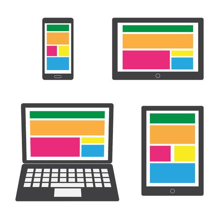 gadgets: Different modern personal gadgets. Flat design