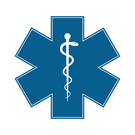 emergency: Medical symbol of the Emergency - Star of Life - icon isolated on white background. Vector
