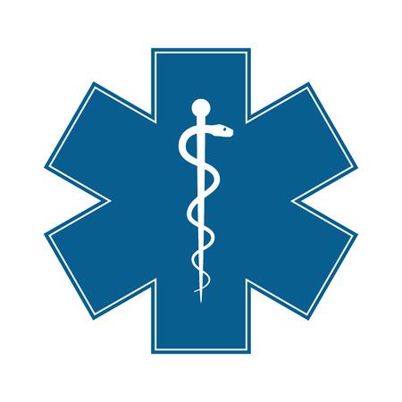 medicale: Symbole médical de l'urgence - Étoile de la vie - icône isolé sur fond blanc. Vecteur