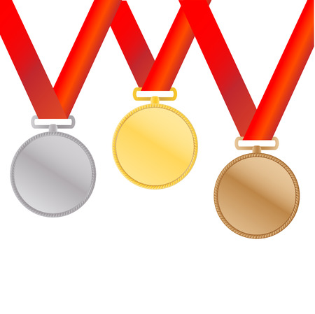 Three medals, Gold, Silver and bronze for the winners Illustration