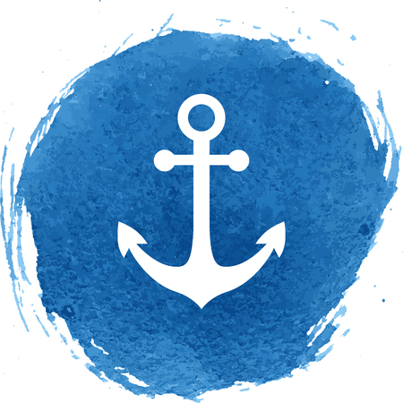 Anchor icon with watercolor effect. Vector illustration