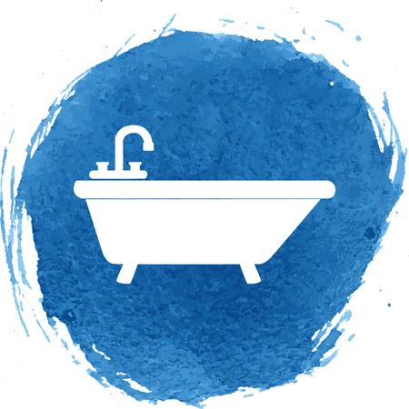 bathtub: Bathtub icon with watercolor effect. Vector illustration