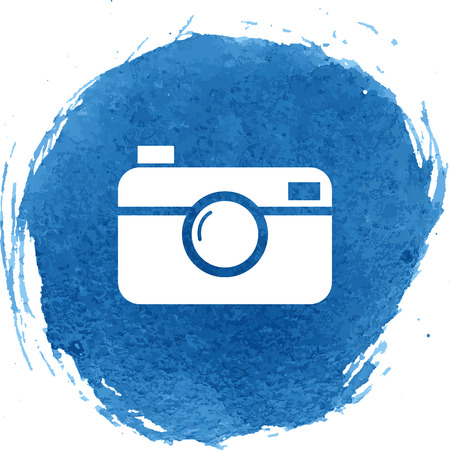 digital photo: Digital photo camera icon with watercolor effect. Vector illustration Illustration