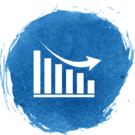 declining: Vector declining graph icon with watercolor effect, vector illustration.