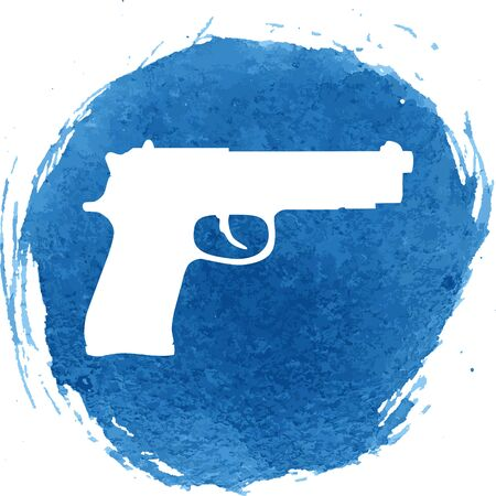 dangerous weapons: Gun icon with watercolor effect, vector illustration. Illustration