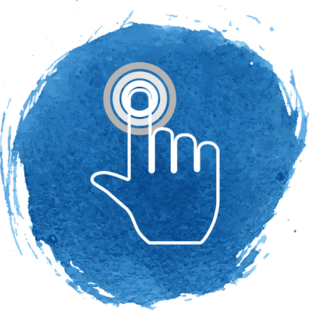 depress: Hand icon with watercolor effect. Vector illustration