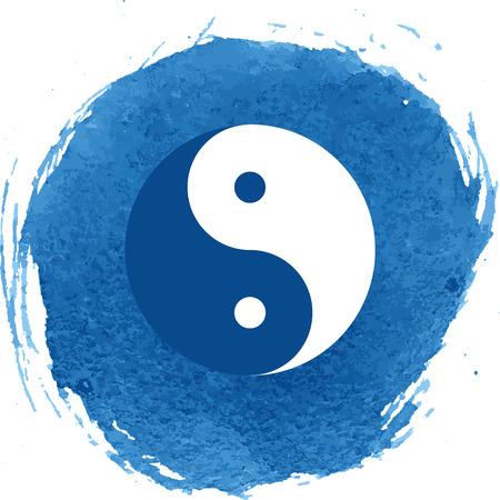 調和とバランスの英陽のシンボル。水彩画の効果  イラスト・ベクター素材