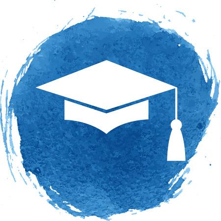 박격포 보드 또는 졸업 모자, 교육 기호. 수채화 효과 일러스트