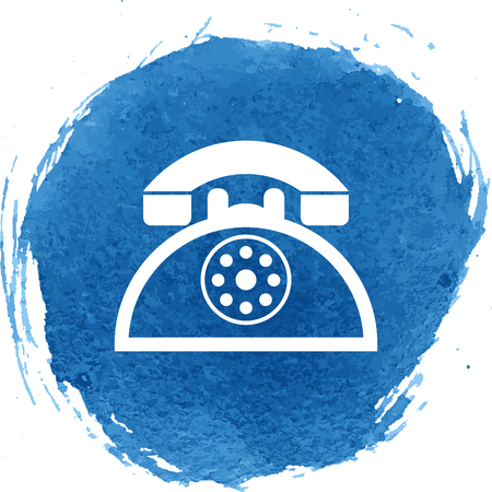 vintage phone: Vintage phone icon with watercolor effect, vector illustration.