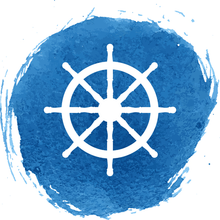 ship wheel: Ship wheel icon with watercolor effect, vector illustration.