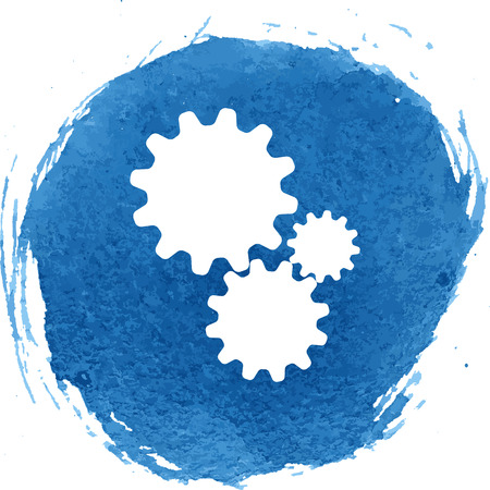 wheel change: Settings icon with watercolor effect, vector illustration.