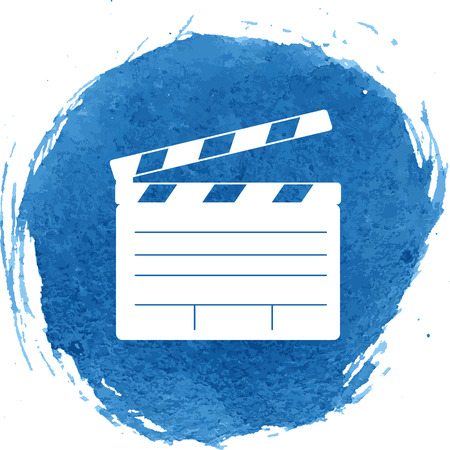 flick: Film clap icon with watercolor effect, vector illustration. Illustration