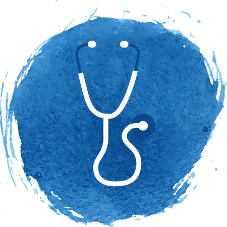 io: Stethoscope icon with watercolor effect, vector illustration.