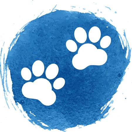 huellas de animales: Pistas animales icono con efecto de acuarela, ilustraci�n vectorial.
