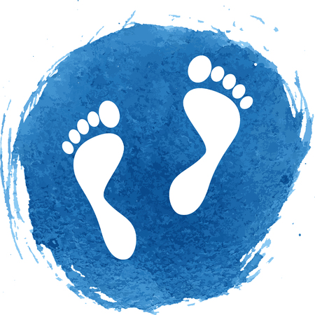 foot prints: Foot prints icon with watercolor effect, vector illustration.