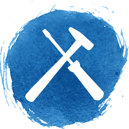 Tool icon with watercolor effect, vector illustration. Çizim