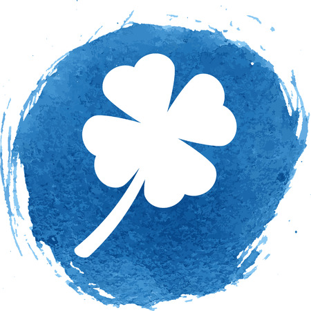 patric icon: Clover leaf icon with watercolor effect, vector illustration. Illustration