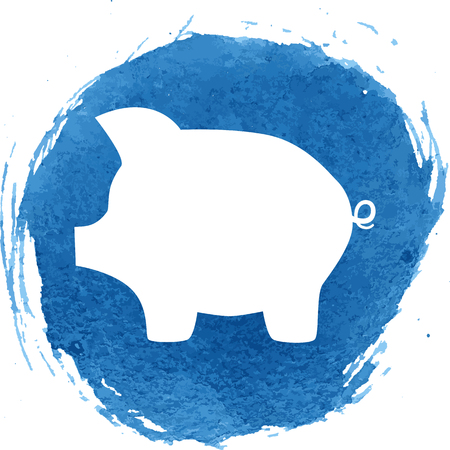 moneyed: Pig money bank icon with watercolor effect. Vector illustration.