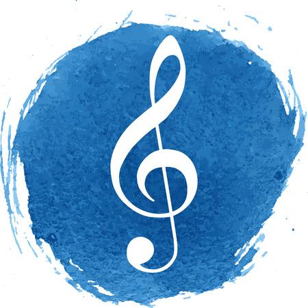 chiave di violino: Icona della chiave di violino con effetto acquerello. Illustrazione vettoriale.