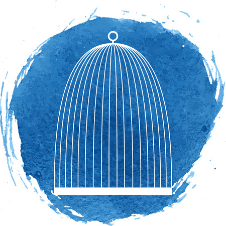 Bird cage icon with watercolor effect. Vector illustration.