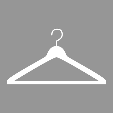 White hanger. Flat style icon. Vector illustration