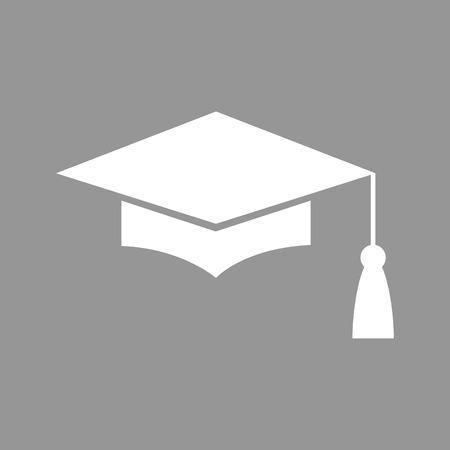 モルタル ボードまたは卒業の帽子、教育のシンボル。フラット スタイルのアイコン。ベクトル図