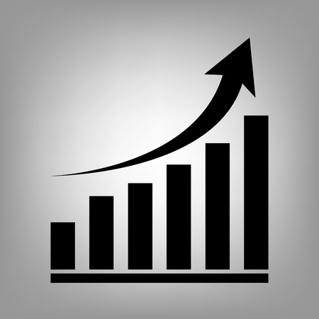 Growing graph. Flat style icon. Vector illustration Çizim