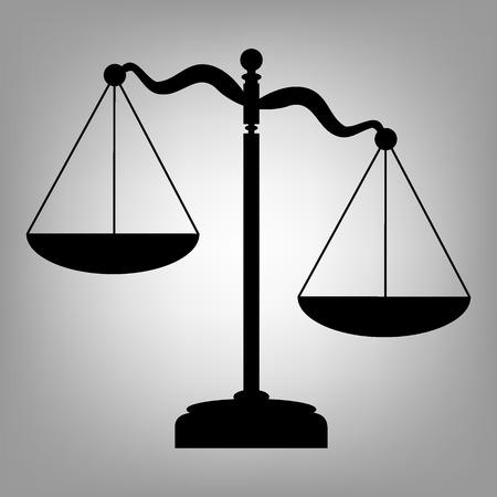 balanza justicia: Escalas de la justicia. icono de estilo plano. ilustraci�n vectorial Vectores