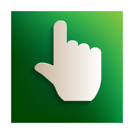 depress: Hand icon. Paper effect on green background Illustration
