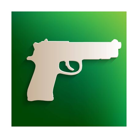 dangerous weapons: Gun icon. Paper effect on green background Illustration