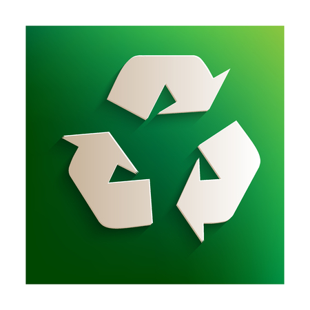 recycle logo: Recycle logo concept. Paper effect on green background Illustration