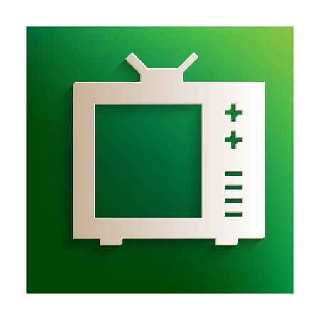 tvset: TV vector icon. Paper effect on green background