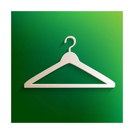 paper hanger: Hanger. Vector icon. Paper effect on green background