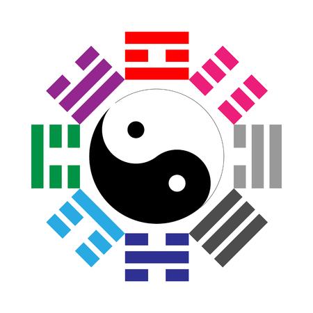 daoism: Pa Kua - Feng Shui Tool. Vector illustratuin