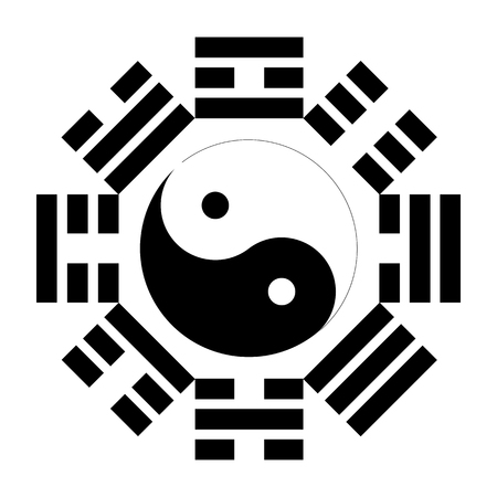 healing chi spiritual: Bagua or Pakua. Feng Shui Compass. Vector illustration